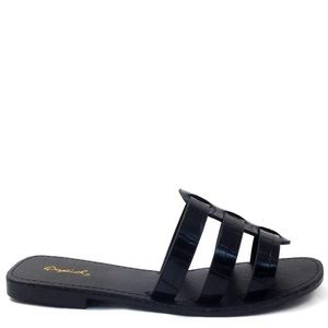 Black slide open toe